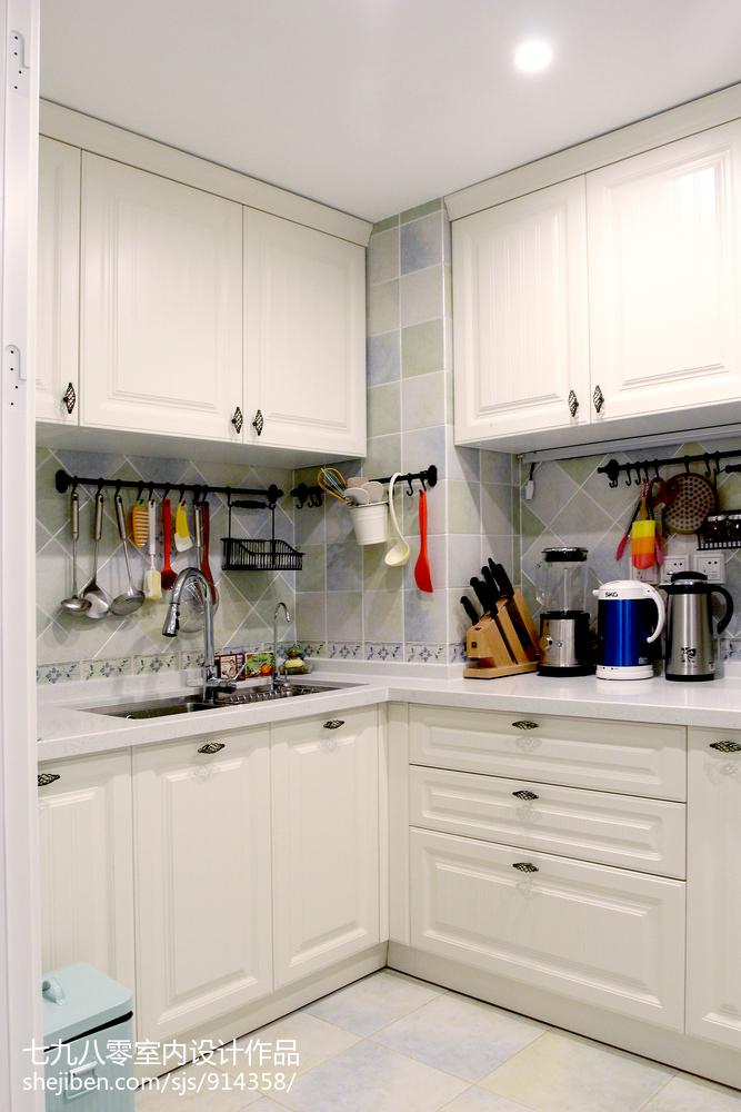 2020面积105平美式三居厨房装饰图片欣赏展示