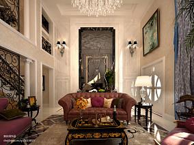 140平别墅客厅欧式效果图