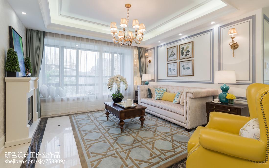 2021精选91平方三居客厅美式效果图展示