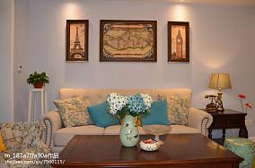76平米二居客厅美式风格装饰图