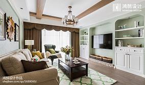 典雅90平客厅美式三居装饰图