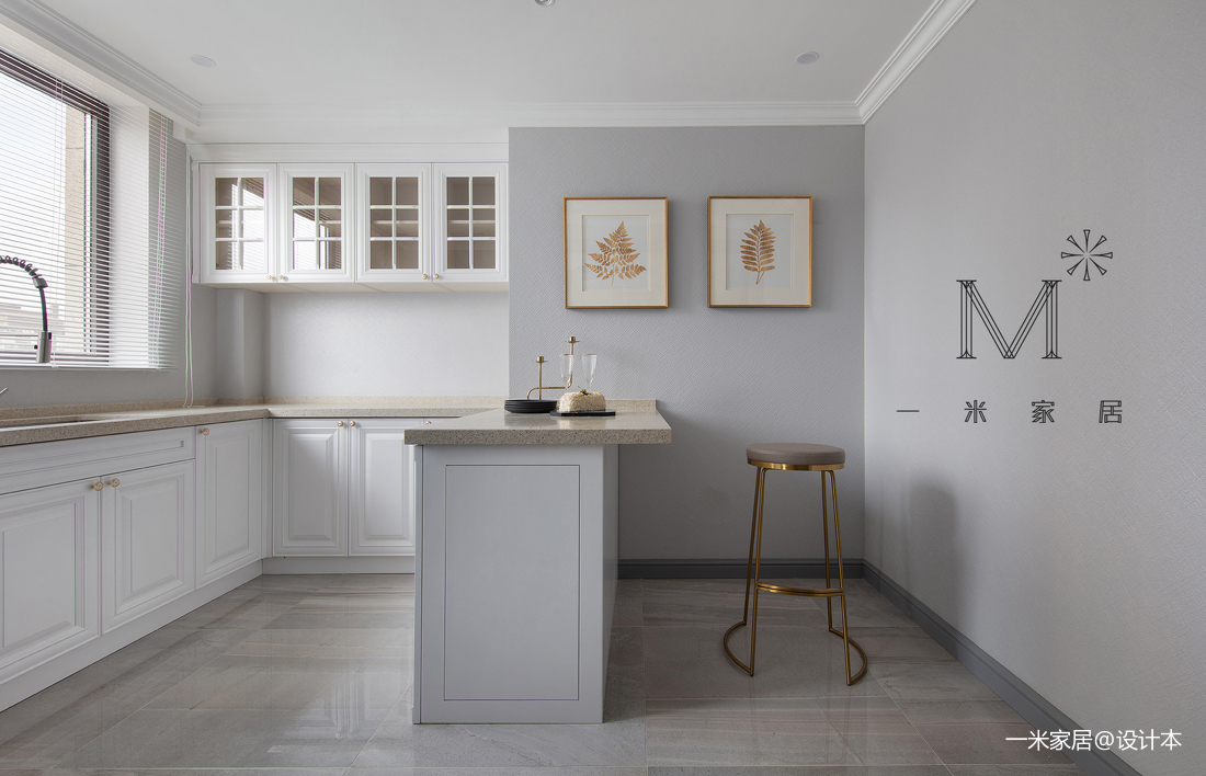 温馨100平美式三居厨房设计图展示
