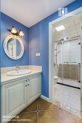 精美面积107平美式三居卫生间装修