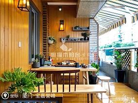 懒猫木阳台中式现代三居60平以下