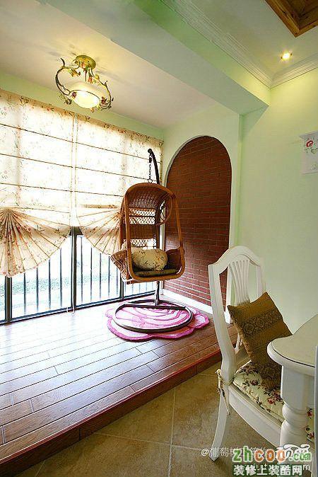 阳台实景设计效果图田园风格三室